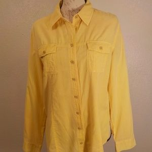 Pulp Shirt Size M Yellow 100% Cotton Button Down